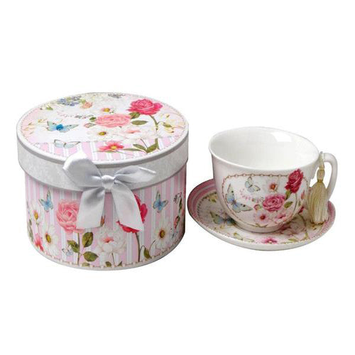 Lightahead Bone China Cappuccino Coffee Tea Cup and Saucer Set in gift box pink Floral design 10oz