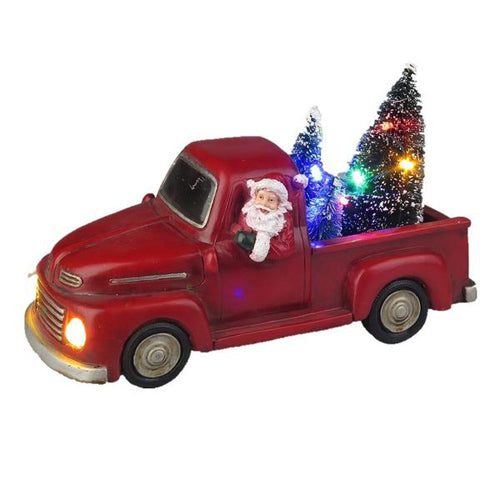Lightahead Christmas Santa Truck with Colorful LED Light and Musical with 8 Melodies, Tabletop Centerpieces