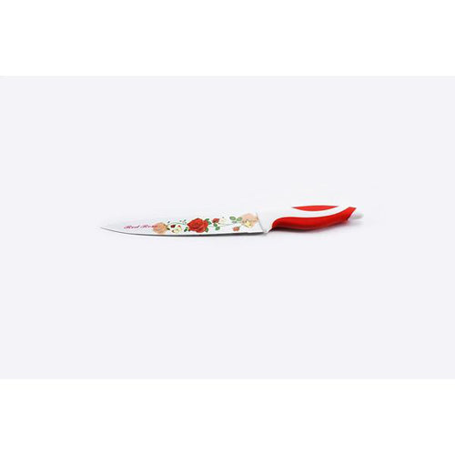 Lightahead Stainless Steel 6pc color Knife set-Chef,Bread, Carving,Utility, Paring & Slicer-Red Rose