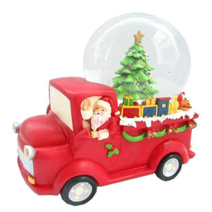 Lightahead Poly resin 100MM Santa Driving Truck Musical Water Ball, Snow Globe with the Inside Figurine Revolving