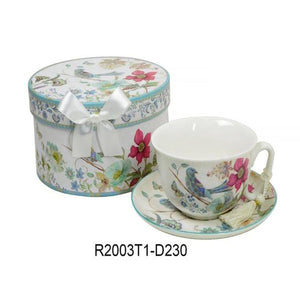 Lightahead Bone China Cappuccino coffee Tea Cup and Saucer Set in Blue Bird Design 10 oz in attractive gift box