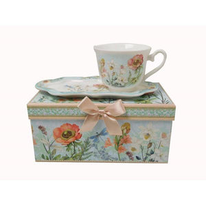 Lightahead New Bone China Unique Tea / Coffee Cup 10 oz and Snack Saucer Set in a Reusable Handmade Gift Box with Ribbon elegant floral design in attractive gift box