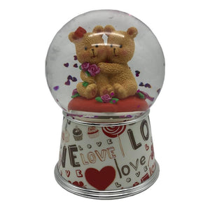 Lightahead Valentine Water Snow Globe with Falling Glitter & music playing, Table Top Decoration Gifts (Love Bears)
