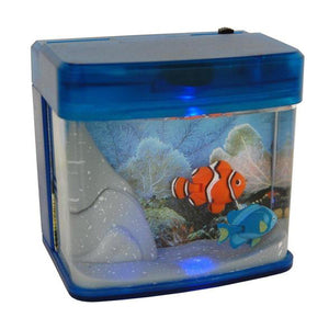 Lightahead Mini Artificial Aquarium with Color LED Swimming Fish Tank