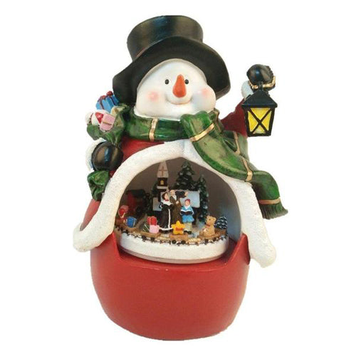 Lightahead Polyresin Snowman Decoration with moving train, LED light, Musical playing Centerpiece