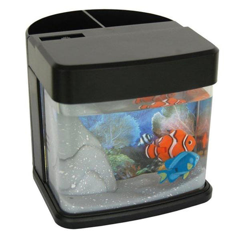 Lightahead Pen Pencil Holder stand Mini Artificial Aquarium with Color LED 2 Swimming Fish Tank