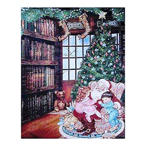 Lightahead A Hug to Santa Christmas Tapestry Blinking Fiber Optic Xmas Eve Wall Hanging Picture 13x18 Inch .Great Christmas Decoration & Gifts (K)
