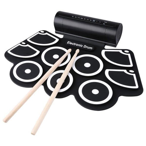Lightahead Portable 9 Pads, 2 Pedals Electronic Roll Up Drum Kit, Built in Speakers, Drumsticks