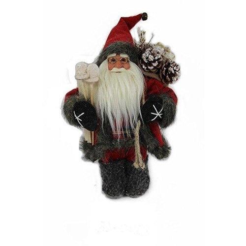 Lightahead 12 inch Santa Claus Standing Red/Black Christmas Figurine Decoration Santa with Ski