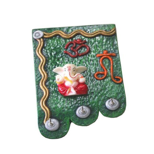 Lightahead Wall Key Holder 3 Key Hooks Exclusive Decorative Om Lord Ganesh design Rack
