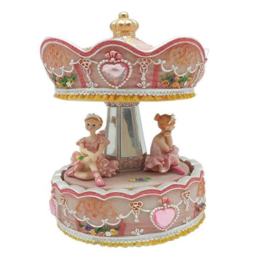 Lightahead Sitting Ballerina Musical Carousel in Poly resin Christmas Music Box Figurine