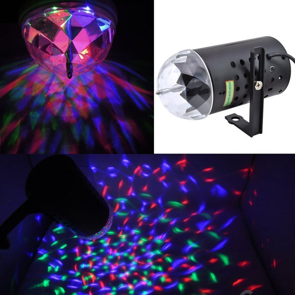 Lightahead® LA005-CORD Rotating LED Crystal Stage Light Multi Color Changing Disco Party Light
