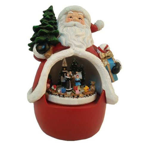 Lightahead Polyresin Santa Decoration with moving train, LED light, Musical with 8 melodies playing Table Top Centerpieces in Polyresin