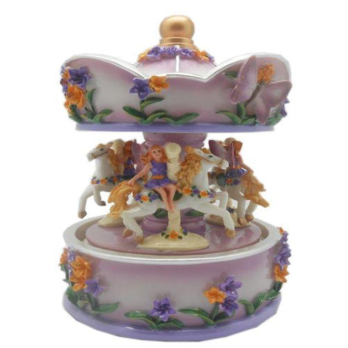 Lightahead Fairy Musical Carousel in Poly resin Christmas Music Box Figurine