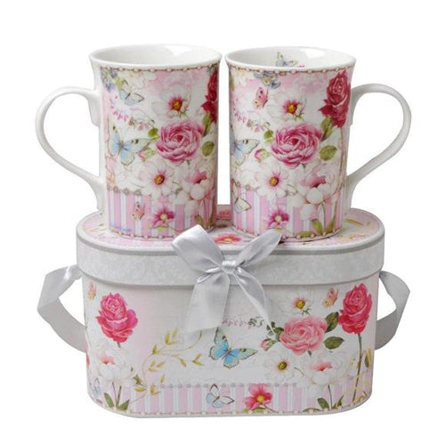 Lightahead Elegent Bone China 2 Coffee Tea Mugs set floral Design in attractive gift box 11 oz each