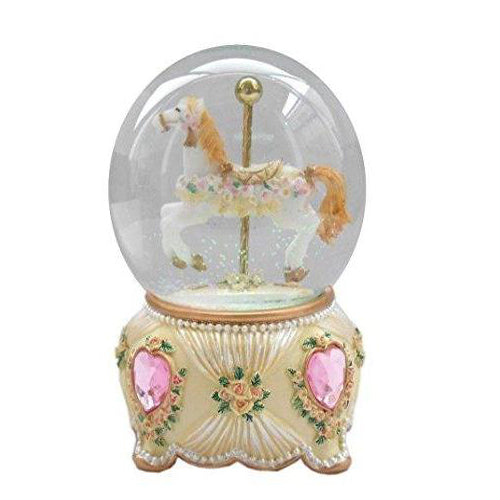 Lightahead 100MM Carousel Horse Snow Water Globe ball with Music playing (Pink)