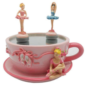 Lightahead Poly resin Skating Ballerina Mini Cup Shaped Music Box with Ballerinas Skating On The Pond great gift