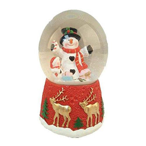 Lightahead 100MM Christmas Water Globe with music playing Water ball Table Top Decoration (Snowman)
