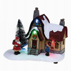 Lightahead Lighted Christmas House with Santa playing 8 melodies Musical for Christmas Holidays Décor