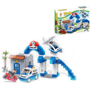 Lightahead 55 PCS Toy Police Department Building Block Set Stacking Learning Activity Kit For Kids
