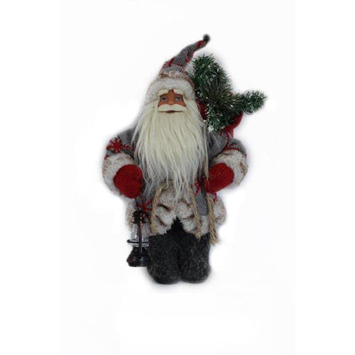Lightahead 12 inch Santa Claus Standing Red/Grey Christmas Figurine Decoration Santa with Lamp