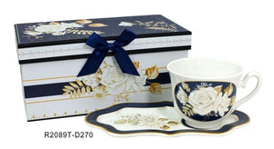 Lightahead Elegant Bone China Tea Cup and Royal Saucer in White Rose Design 8.5 oz in attractive reusable handmade gift box
