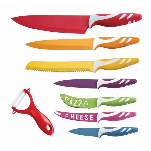 Lightahead 8 pc Colorful Knives set Stainless Steel Knife set having Chef,Bread,Slicer, Utility etc