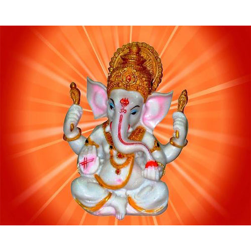 The Blessing A White & Gold statue of Lord Ganesh Elephant Hindu God made from Marble powder