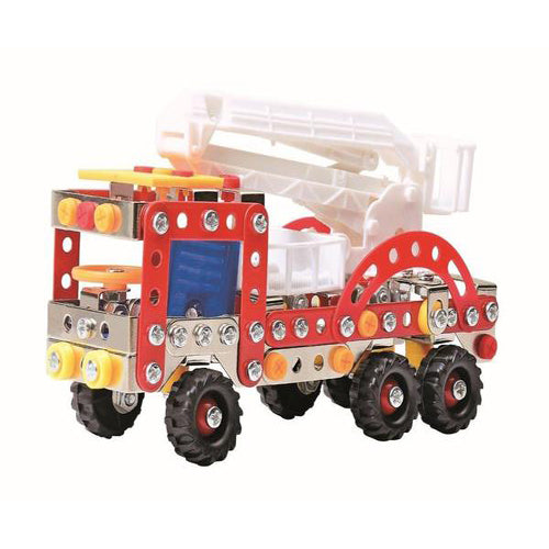 Lightahead Assembly Metal Fire Truck Model Kits Toy Fire Engine to Assemble Puzzles Set for Kids, 239 pcs metal blocks