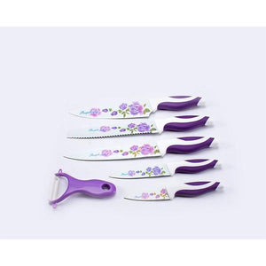 Lightahead Stainless Steel 6 pcs colored Knives set - Chef, Bread, Carving, Utility,Paring Knife