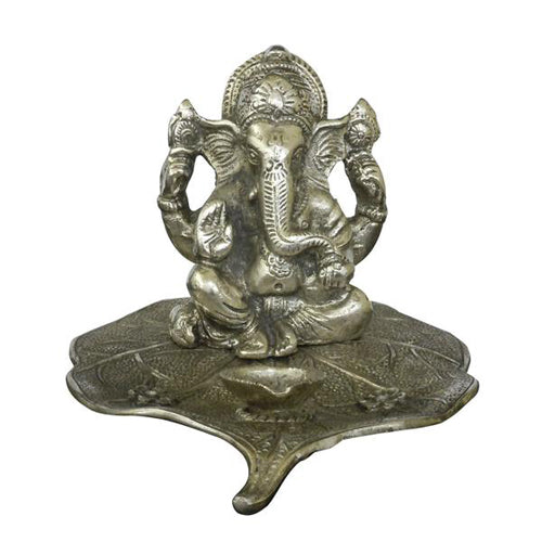 Lightahead® Lord Ganesh Ganapati The Elephant god statue figure Diya candle stand tea light holder on leaf in White Metal