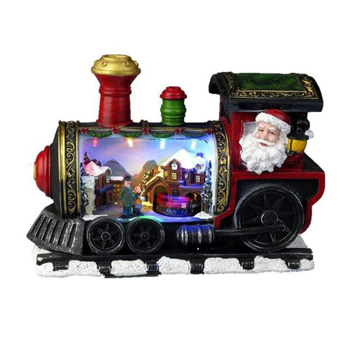 Lightahead Christmas Turning Train Scene in Locomotive with LED Light and Music,Tabletop Centerpiece