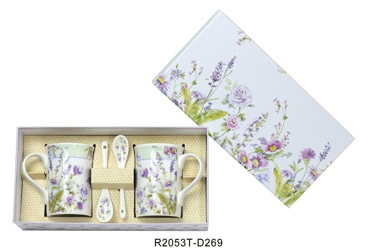 Lightahead Elegant Bone China Two Coffee Tea Mugs with Two Spoons set in Romantic Lavender Rose Design 11.2 oz each cup in attractive gift box