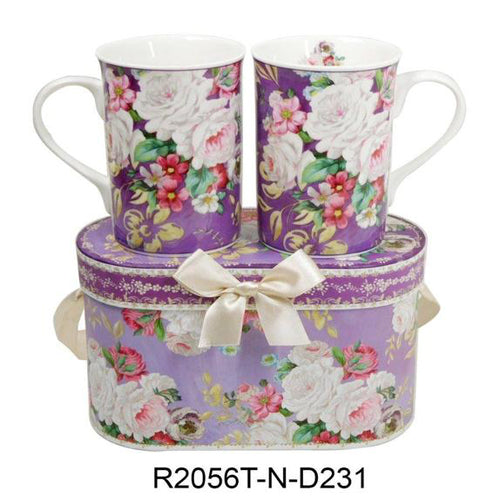 Lightahead Elegant Bone China Two Mugs set in Romantic Roses Design 11.2 oz each cup in gift box