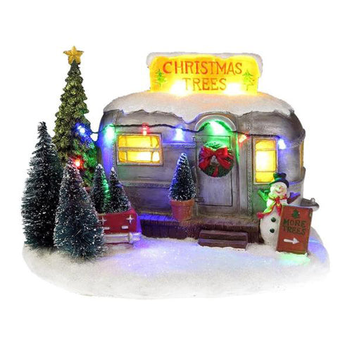 Lightahead Christmas Tree Selling RV Trailer Home with Snowman and Colorful LED Light and Musical with 8 Melodies