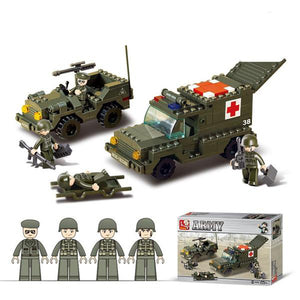 Lightahead Army soldiers,Ambulance & Military Forces Toy Building Blocks Set with Jeep and mini Figures to make your own DIY Battle Field (292 Pc)