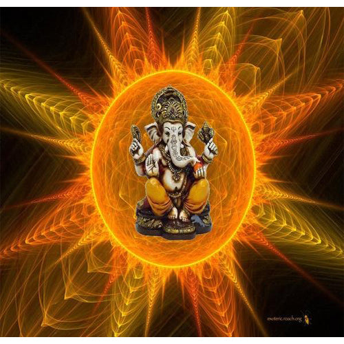 Lightahead The Blessing. A colored & Gold statue of Lord Ganesh made from Marble powder in India