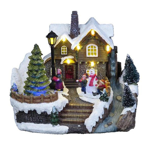 Lightahead Christmas Snow House with Turning Tree Scene, LED Light and Musical with 8 Melodies, Tabletop Centerpieces