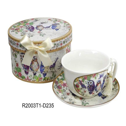 Lightahead Elegant Bone China Coffee Tea Cappuccino cup and saucer in Family of Owl design 10 oz in attractive gift box