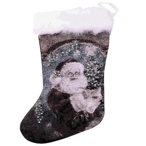 Lightahead SANTA CLAUS FIBER OPTIC BLINKING CHRISTMAS STOCKING 28 x 48cm.WITH FURRY TOP . GREAT CHRISTMAS DECORATION AND GIFT.