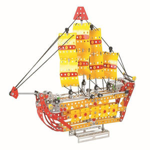 Lightahead Assembly Metal Sailing Ship Model Kits Toy Boat to Assemble. Puzzles Set for Kids, 455 pcs metal blocks