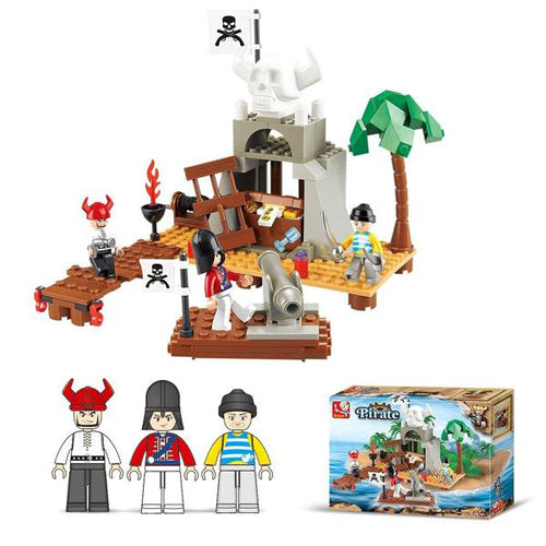 Lightahead Pirate Island and mini Figures Toy Building Blocks Set Educational Kit For Kids (142 PCS)