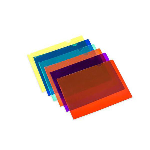Lightahead LA-7555 Clear document Folder, A4 size, Set of 12 in 6 assorted Colors, Blue, Green, Orange, Yellow, Purple, Maroon