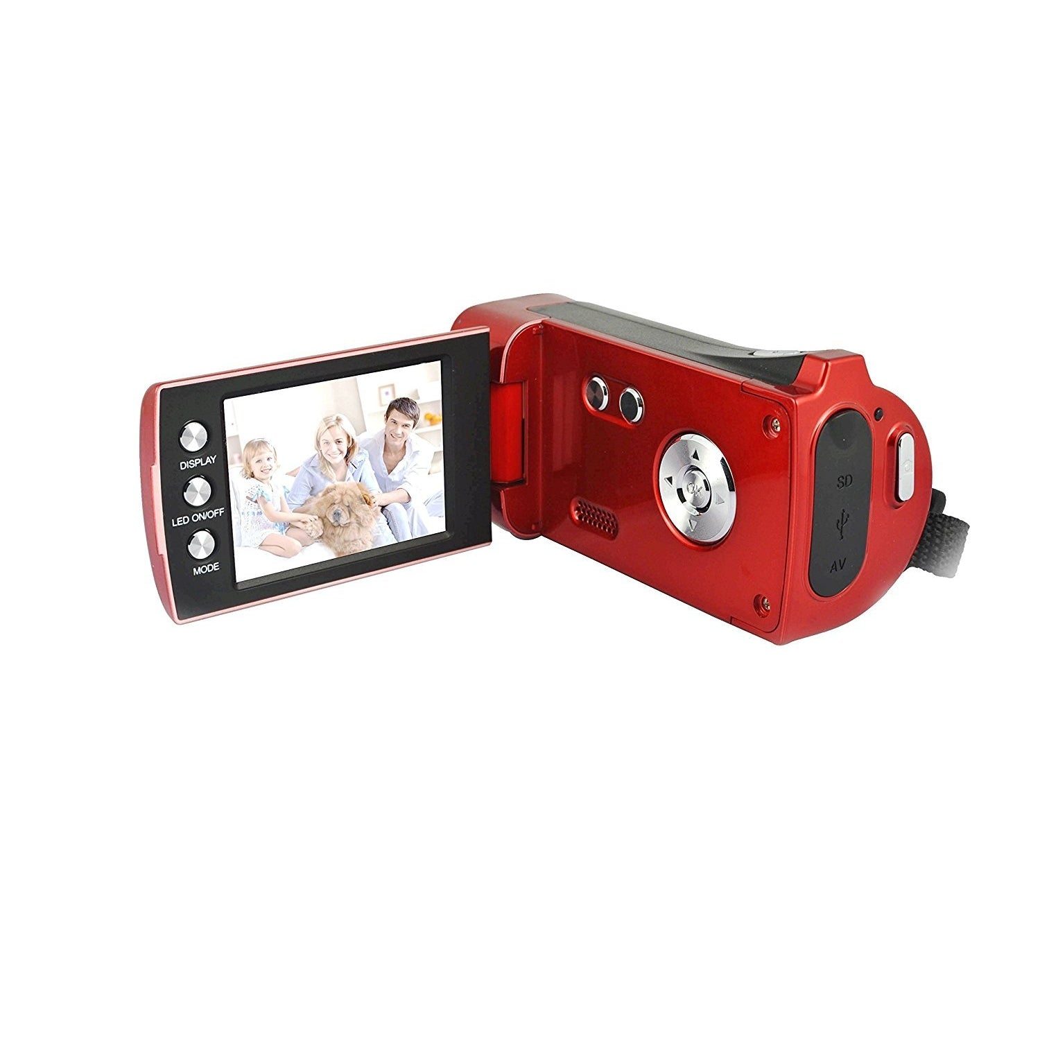"Lightahead® DV series High-Definition HD 720p Digital Camcorder SD/SDHC with 4x Digital Zoom & 2.7"" Flipout screen (RED) With Hand Strap & Cloth Bag."