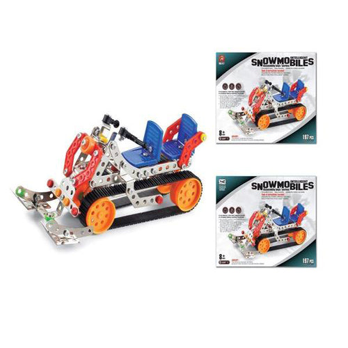 Lightahead Assembly Metal Snowmobiles Model Kits Toy Snow Car To .Assemble Puzzles Set for Kids, 197 pcs metal blocks