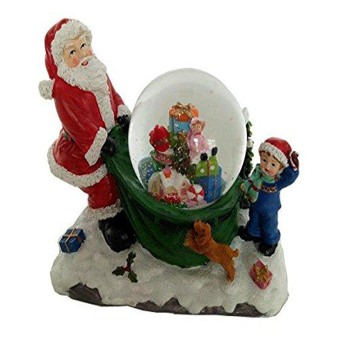 Lightahead Polyresin Santa Water Snow globe with flying snow, LED lights & Music with 8 melodies playing