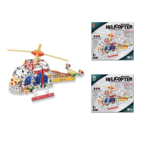 Lightahead Assembly Metal Helicopter Model Kits Toy Plane Building Puzzles Set for Kids, 363 pcs metal blocks
