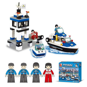 Lightahead Toy Police Station,Boats and mini Figures Building Block Set Educational DIY Kit For Kids (206 PCS)