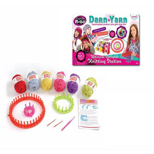 Lightahead DIY 6 and 1 Darn & Yarn wool compiler set Children learning knitting kit for girls Personalise Your woolen Hats & Scarves. .