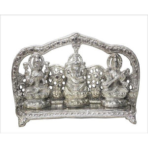 Lightahead Hindu God's Ganesh, Lakshmi & Saraswati Made in India in White Metal with Antique look